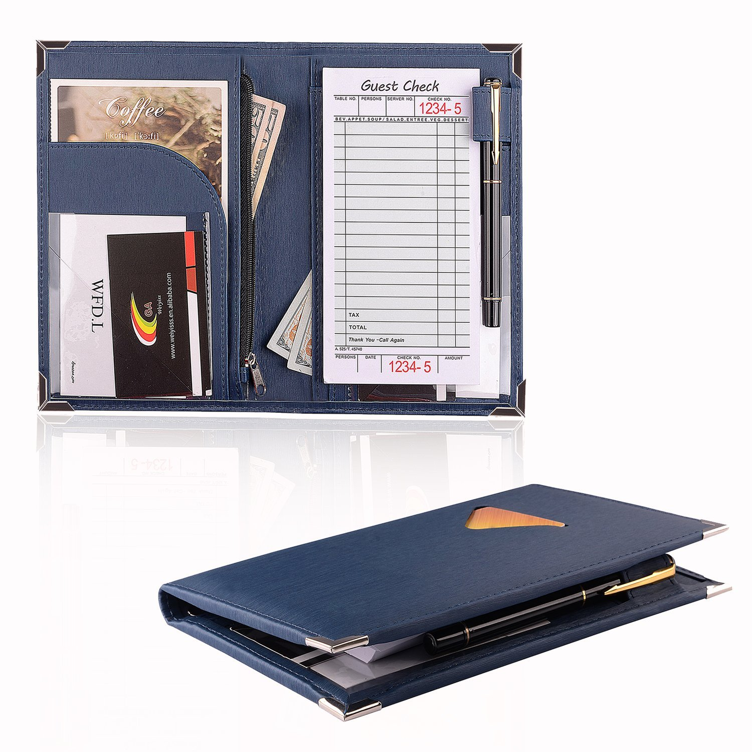 WFD.L Server Book for Waitress Book Server Wallet with Zipper Pocket Cute Waiter Book Organizer Fits in Server Apron + Includ Guest Order Note Pad (Dark blue/8'' ×5.2''inch)