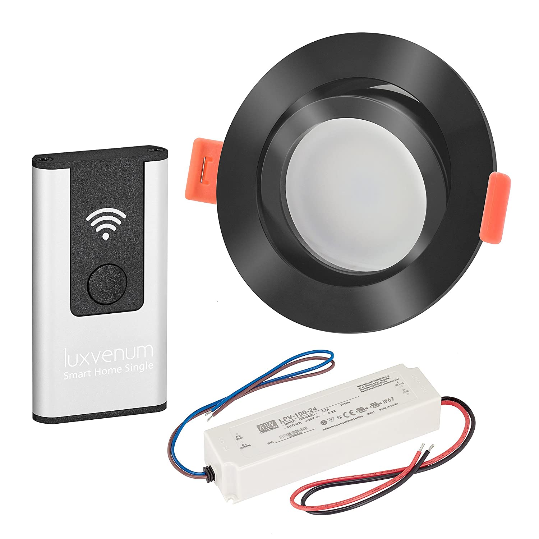 LUXVENUM   10er-Set Alexa Echo Smart Home kompatible LED-Einbaustrahler 230V extra flach 25mm DIMMBAR 6W statt 70W Schwarzes Aluminium & Milchglas rund tageslichtweiß 4000K