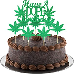 Pot Leaf Cupcake Toppers Set Include Have a Dope Birthday Cake Topper and Weed Leaves Cupcake Toppers for Baby Shower Wedding 420 Birthday Party Home Supplies (Green)