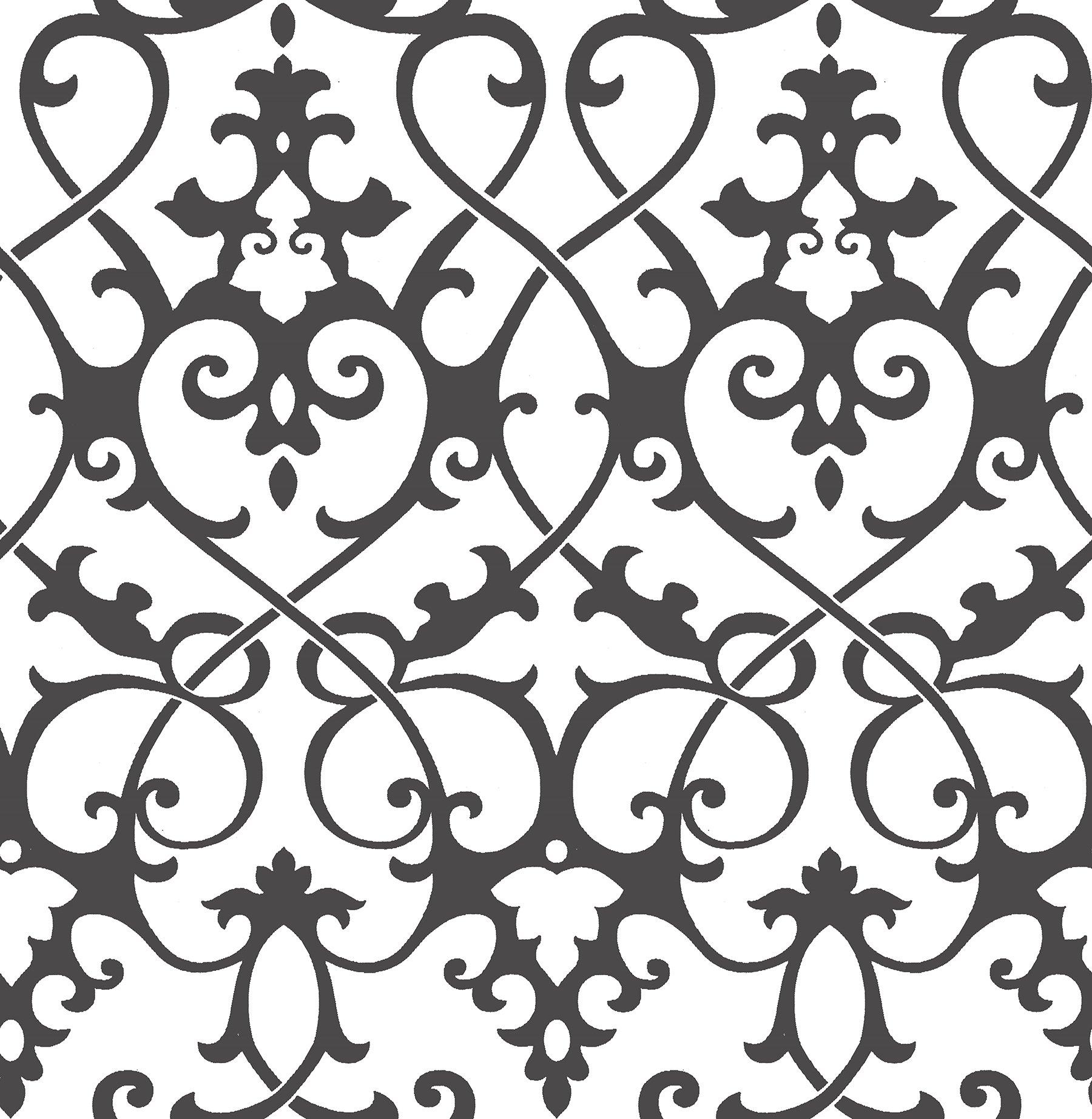 A-Street Prints 2625-21869 Axiom Ironwork Wallpaper, Black
