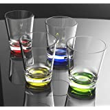 QG 16 oz Clear Acrylic Iced Tea Cup with Colored Base Plastic Tumbler Set of 4 in 4 Assorted Colors