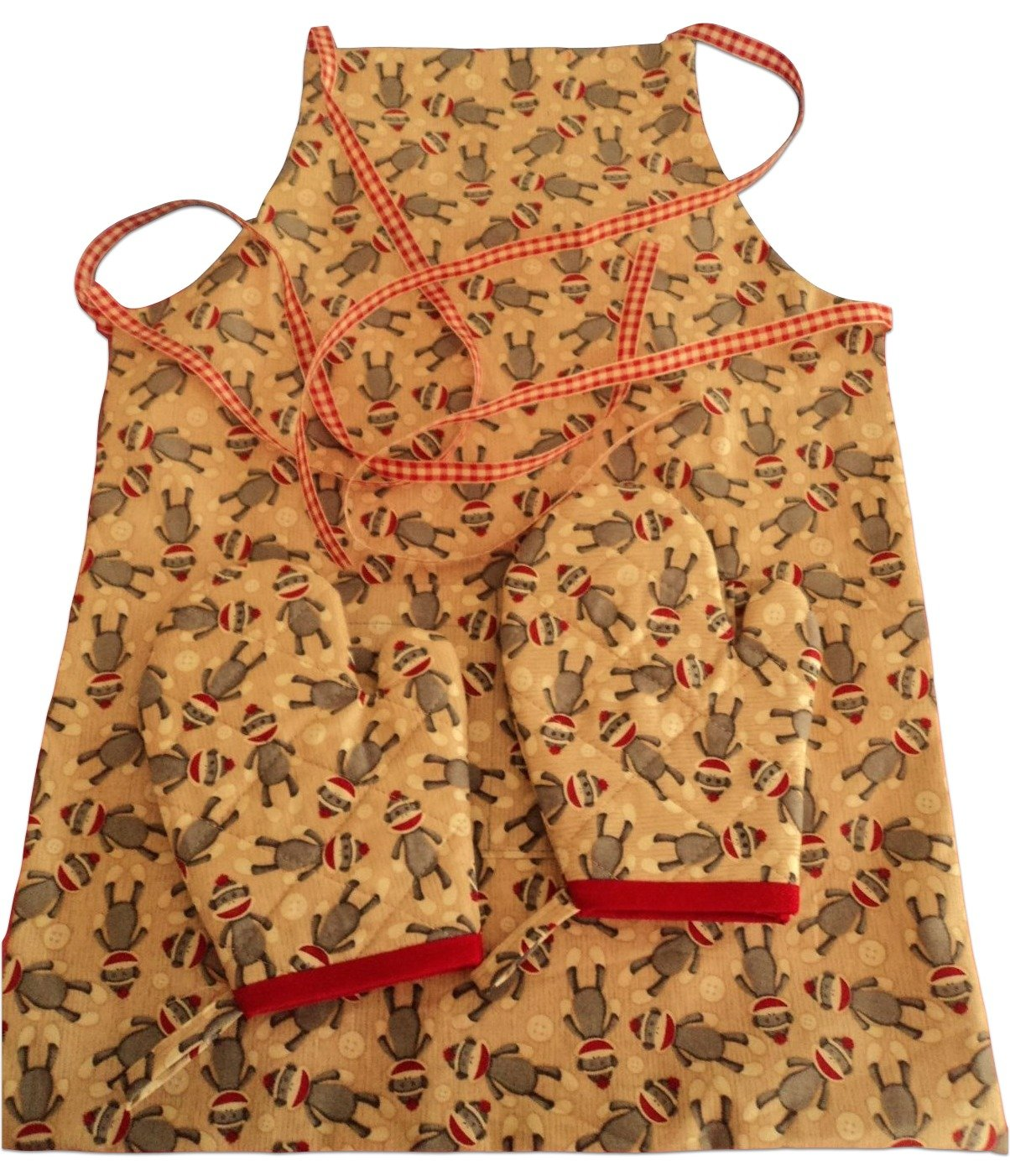 "Custom & Durable {8"" x 4"" Inch Each} 2 Set Pack of Mid Size ""Non-Slip"" Oven Mitts Made of Cotton for Carrying Hot Dishes w/ Children Sock Monkey Style [Tan, Red, & Grey] w/ Matching Apron"