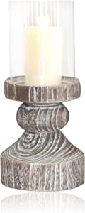 Pomeroy Monticello Mantle Hurricane Small, Ashwood/Clear