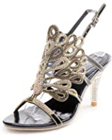 Honeystore Women's Peacock Shaped Pattern Handmade Rhinestone Sandals