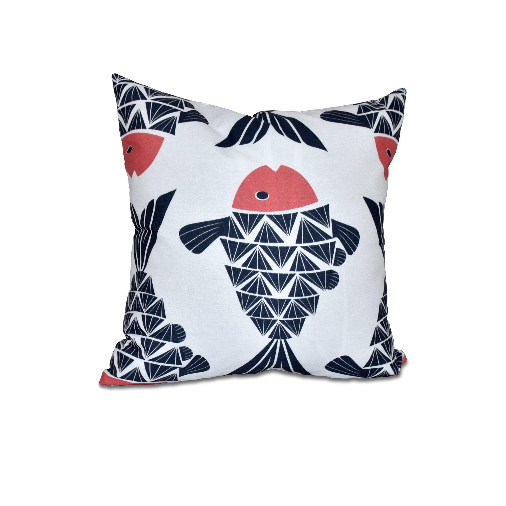 E by design O5PAN427BL14OR15-20 20 x 20 Big Fish Animal Print Blue Outdoor Pillow