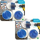 RevoClean 4 Piece Scrub Brush Power Drill Attachments-All Purpose Time Saving Kit-Perfect for Cleaning Grout, Tile, Counter, Shower, Grill, Floor, Kitchen, Blue & White (Pack of 2)