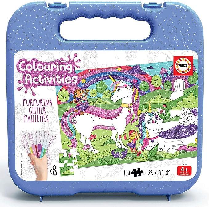 Educa- Colouring Activities Puzzle de 100 Piezas para Colorear Unicornios Glitter, con Purpurina, a Partir de 4 años