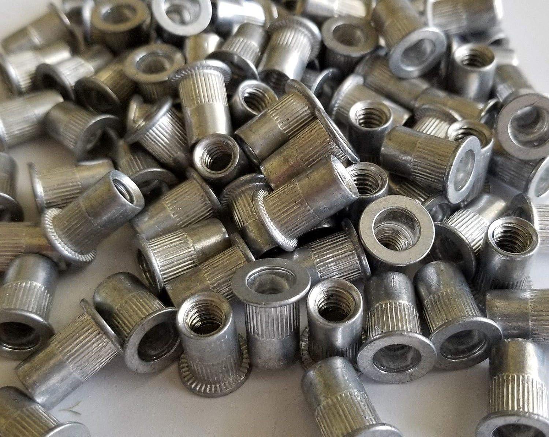 100 Pcs 1//4-20 Aluminum Flange Nutserts Rivet Nut Rivnut Nutsert