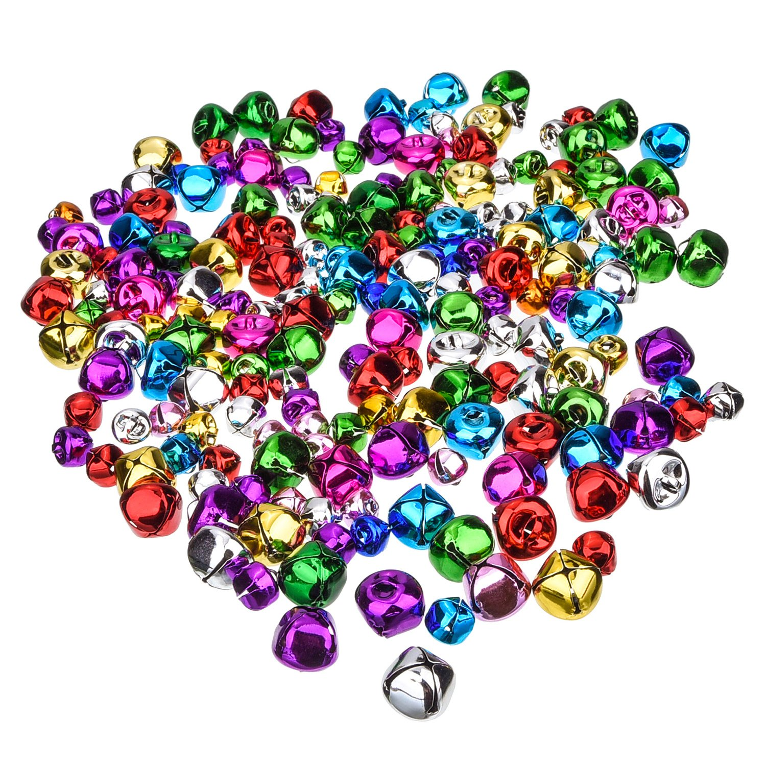Outus Party Jingle Bells Mini Small Bells Loose Beads Charms, Assorted Colors, 200 Pieces (10 mm, 15 mm)