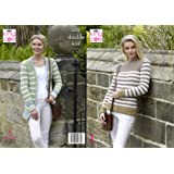 5c246a17d00cb King Cole 5313 Knitting Pattern Womens Striped Sweater and Cardigan in  Merino Blend DK