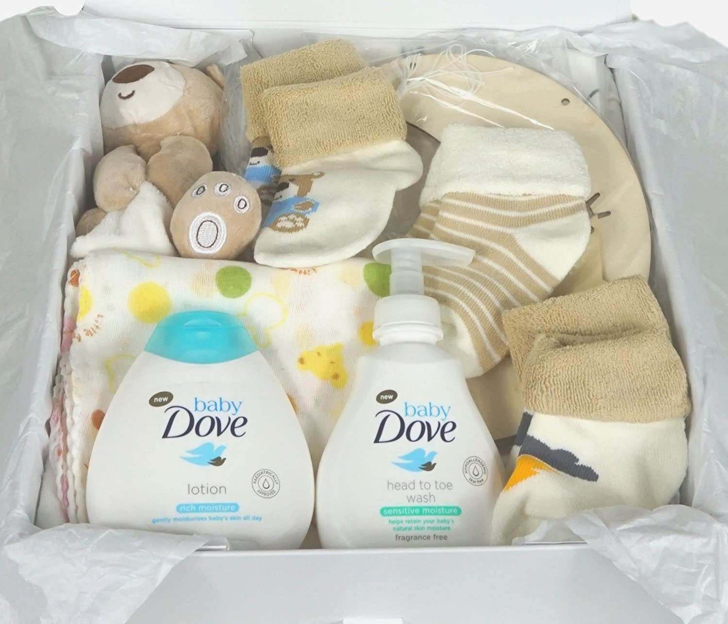 Hubano Premium Baby Hamper Gift Set Neutral. Unisex Baby Gift with Box and Ribbon for Newborn 3 Months 6 Months