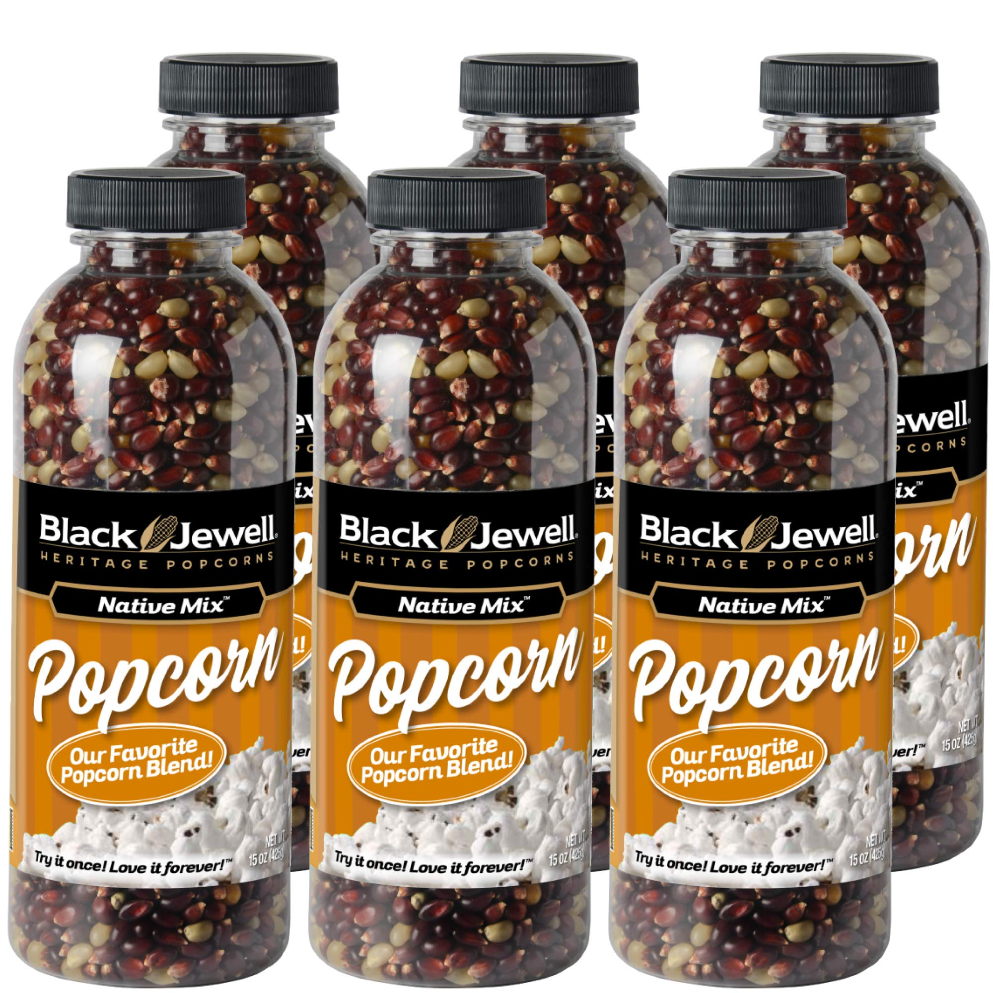 Black Jewell Native Mix Hulless Popcorn Kernels 15 Ounces (Pack of 6) by Black Jewell