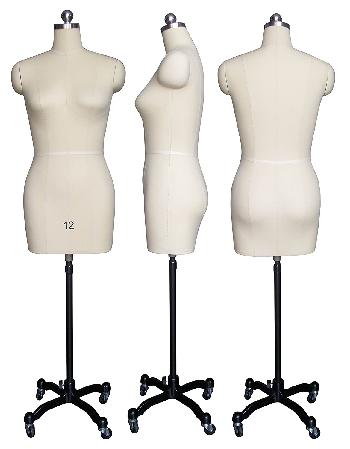 Female Sewing Dress Form Mannequin Fully Pinnable With Magnetic Removable Shoulders On Rolling Base Size 12 by Only Mannequins®