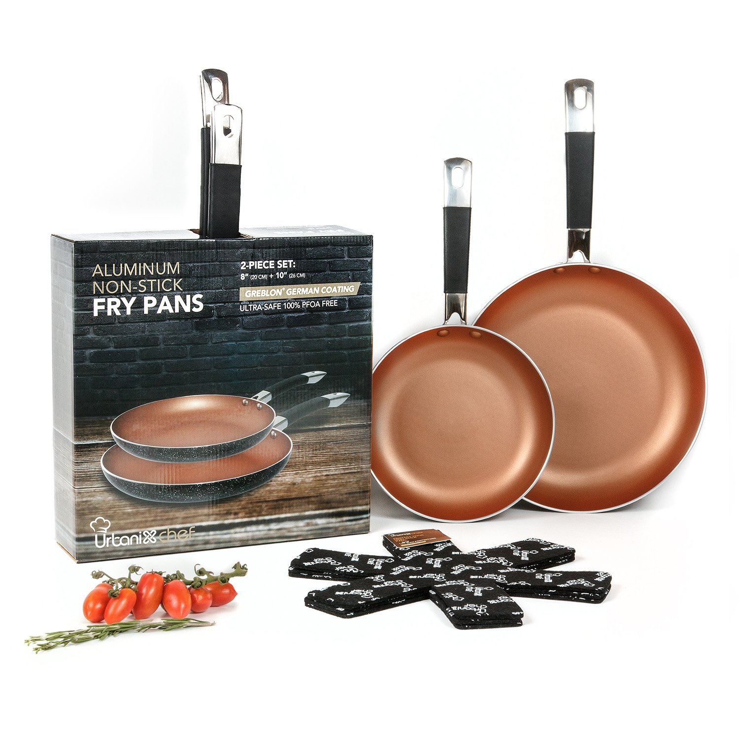 UrbanixChef Frying Pans . Superior German Greblon Non-stick Coating Copper Color. 2 Pcs - 8 and 10 Inch.100% PFOA Free,Induction Compatible , Oven Safe.  Bonus 3 pc.11 Inch Pan Protectors by URBANIX (Image #1)