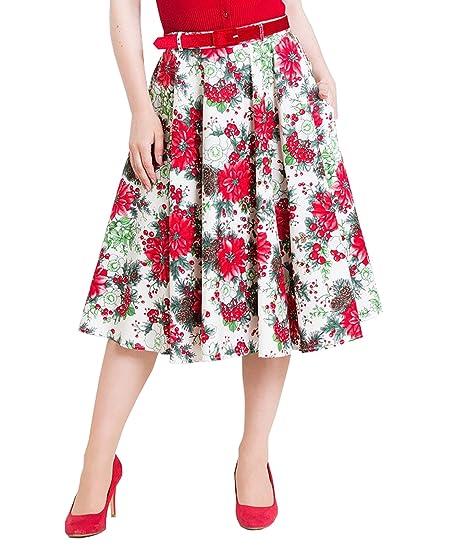 Hell Bunny Jennie Invierno Floral Navidad Años 50 Falda Circular ...