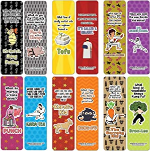 Creanoso Martial Arts Jokes Bookmarks (60-Pack) - Premium Quality Gift Ideas for Children, Teens, Adults for All Occasions - Stocking Stuffers Party Favor & Giveaways