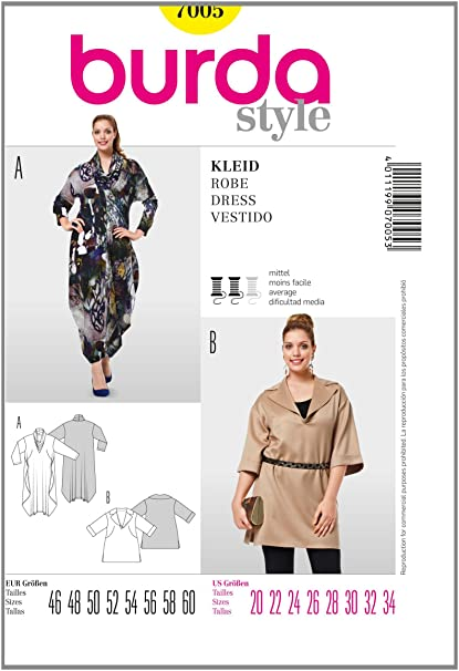 f2e8b9eb Amazon.com: Burda Plus Sizes Sewing Pattern 7005 - Dress Sizes: 20-34:  Arts, Crafts & Sewing