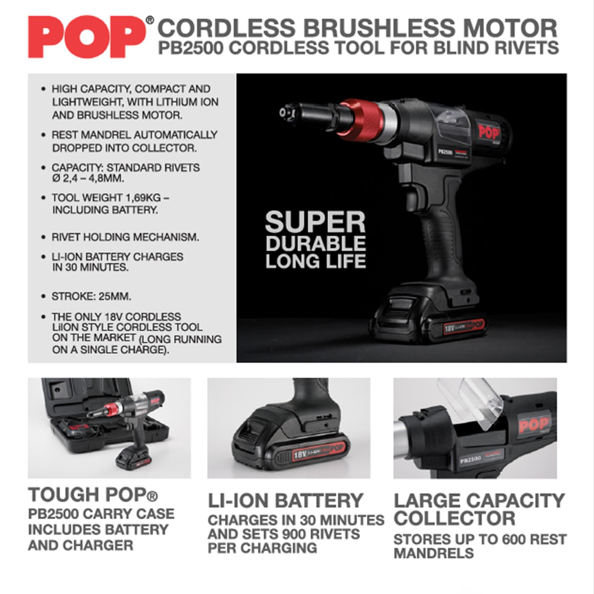 POP PB2500-NA CORDLESS RIVETER 18V 3/32-3/16 W/LiION BATTERY CHARGER CARRY CASE
