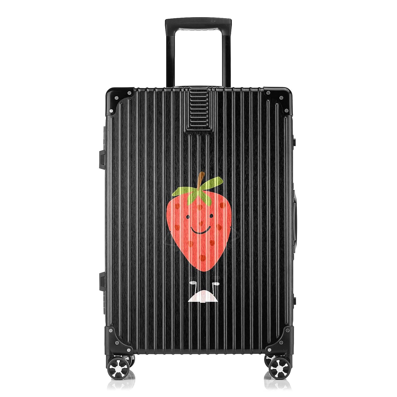 GSHCJ スーツケース フルーツ イチゴ キャリーケース 20インチ おしゃれ ブラック Tsaロック搭載 プリント ハード 超軽量 軽い 機内持込 ロックファスナー 旅行 ビジネス 出張 海外 修学旅行 丈夫 便利 レディース メンズ 学生 B07S191VVC