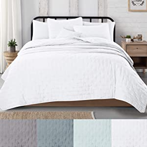 Great Bay Home 3-Piece Dot Stitch Quilt Set with Shams. White Dot Full/Queen Quilt Set, All Season Bedspread Quilt Set, Athena Collection (Full/Queen, White)