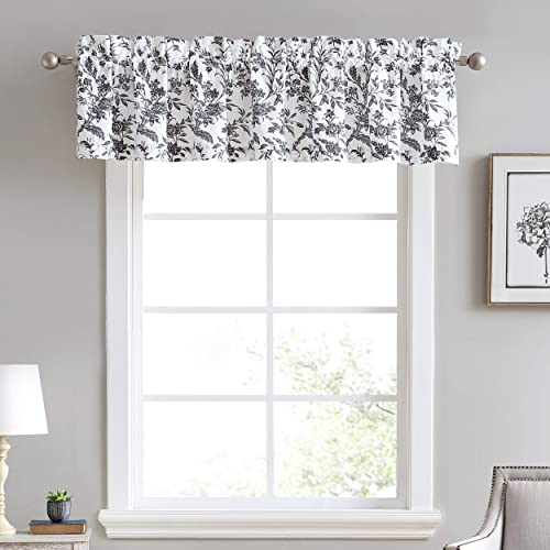 Laura Ashley Home Amberley Bedding Collection Stylish Premium Hotel Quality Valance Curtain, Chic Decorative Window Treatment for Home D cor, 86 X 15 , Black White