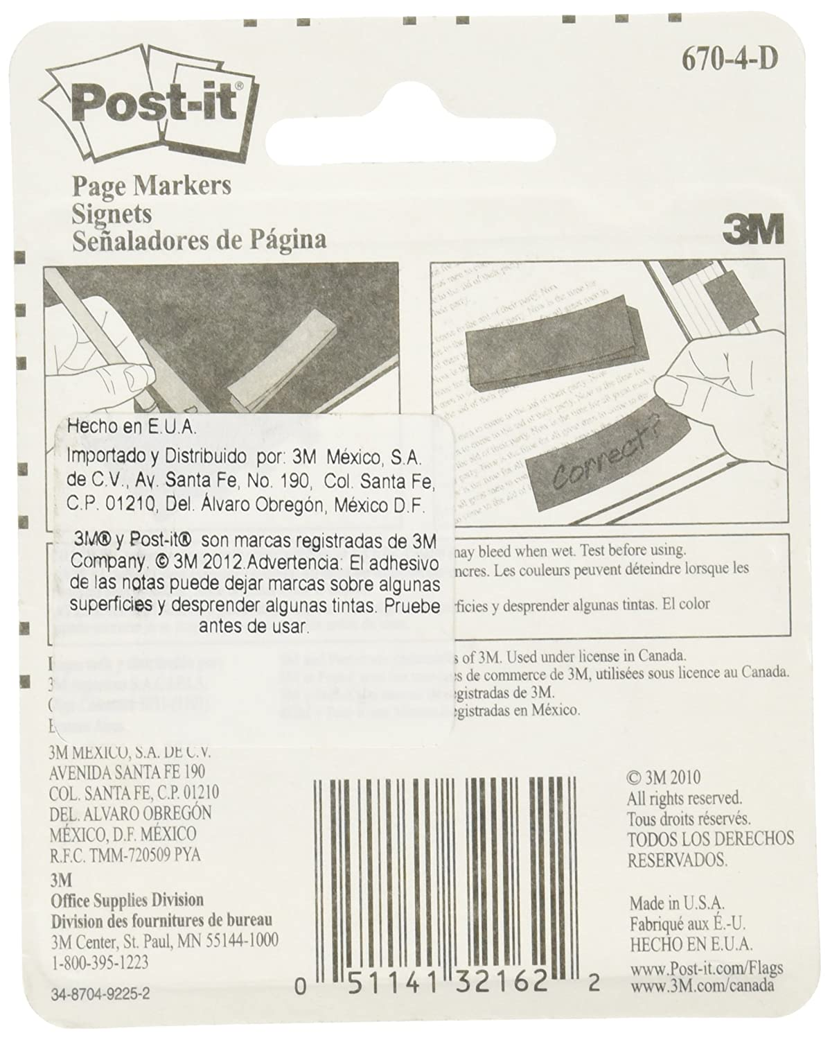Post-it/® Page Marker 670-4-D 1//2 in x 1.75 in Rainbow 12,7 mm x 44,4 mm