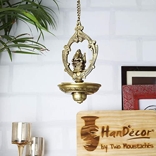 Two Moustaches Brass Ganesha Hanging Oil Wick Diya, Yellow