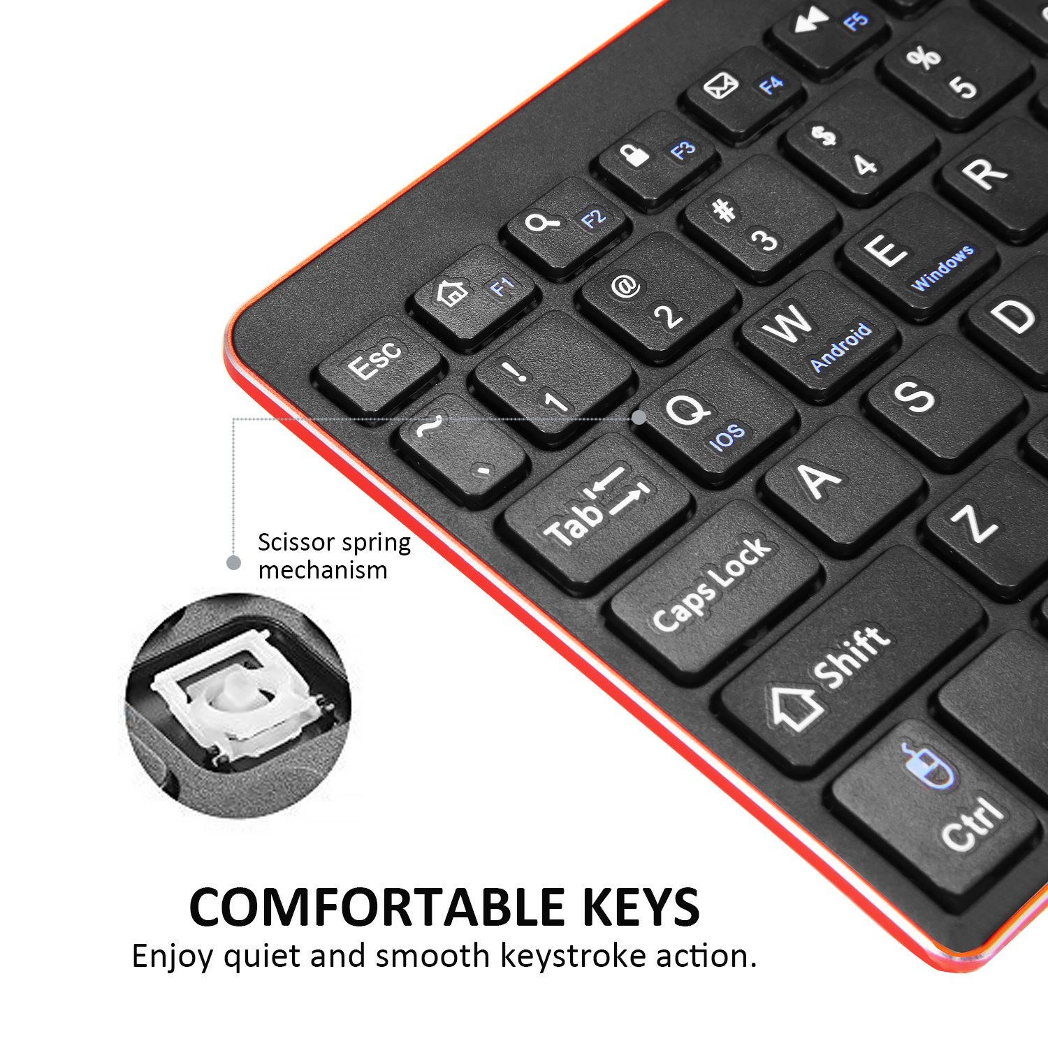 bater/ía no incluida Alitoo Teclado Inal/ámbrico Bluetooth con Touchpad Negro Wireless Teclado Ergon/ómico Ultrafino Portatil Universal Keyboard para PC Android iOS Windows y Ordenador port/átil
