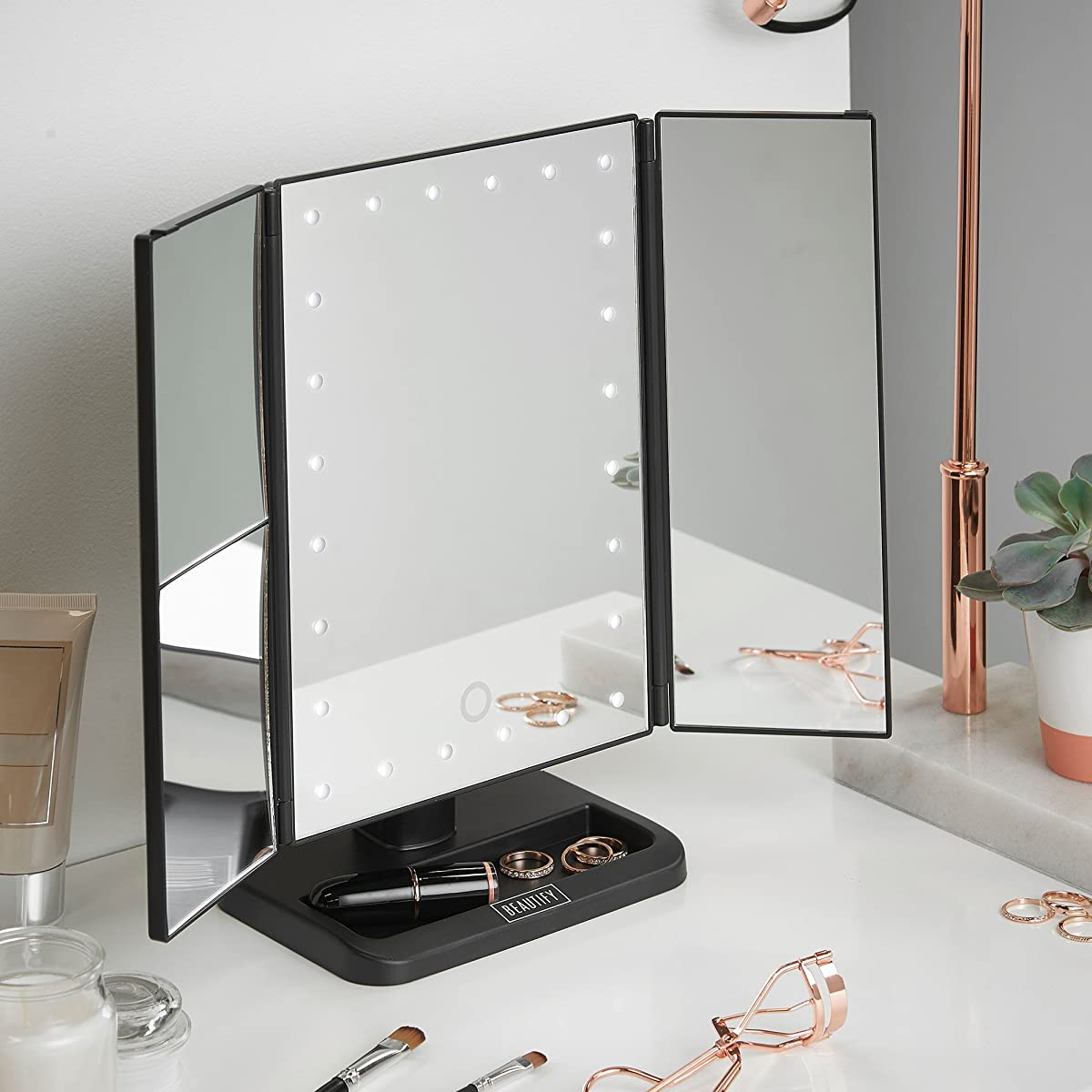 Beautify Vanity Makeup Trifold Mirror 24 LED Lighted with Touch Screen Dimming, 180° Rotation, USB and Battery Powered Countertop Cosmetic Mirror - Black Trifold