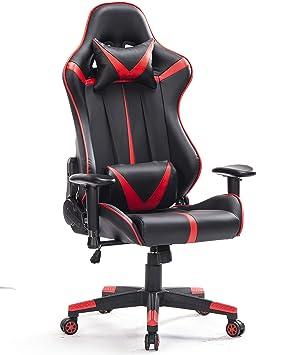 Top Gamer Talla Grande Silla de Oficina de Escritorio computadora ergonomica Racing Gaming con Masaje Soporte Lumbar y reposapiés Ajustable (Rojo-2): ...
