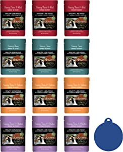 Dave's Naturally Healthy Grain Free Cat Food in Gravy in 4 Flavors: (3) Tuna, (3) Tuna/Salmon, (3) Tuna/Beef and (3) Tuna/Chicken (12 Pouches Total, 2.8 Ounces Each) Plus Silicone Lid