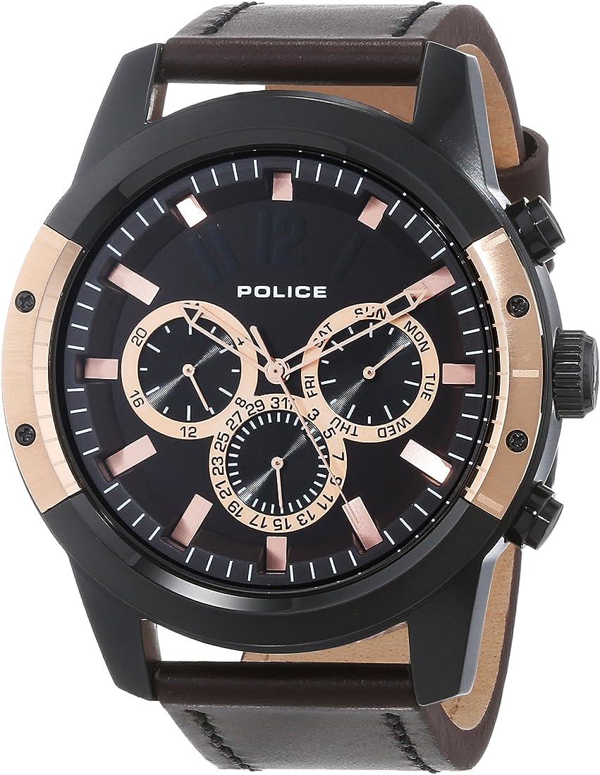 Police scrambler orologio da polso, cronografo, uomo, pelle, marrone 14528JSBR/12