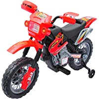 Homcom Moto Cross électrique Enfants à partir de 3 Ans 6 V phares klaxon musiques 102 x 53 x 66 cm Jaune et Noir