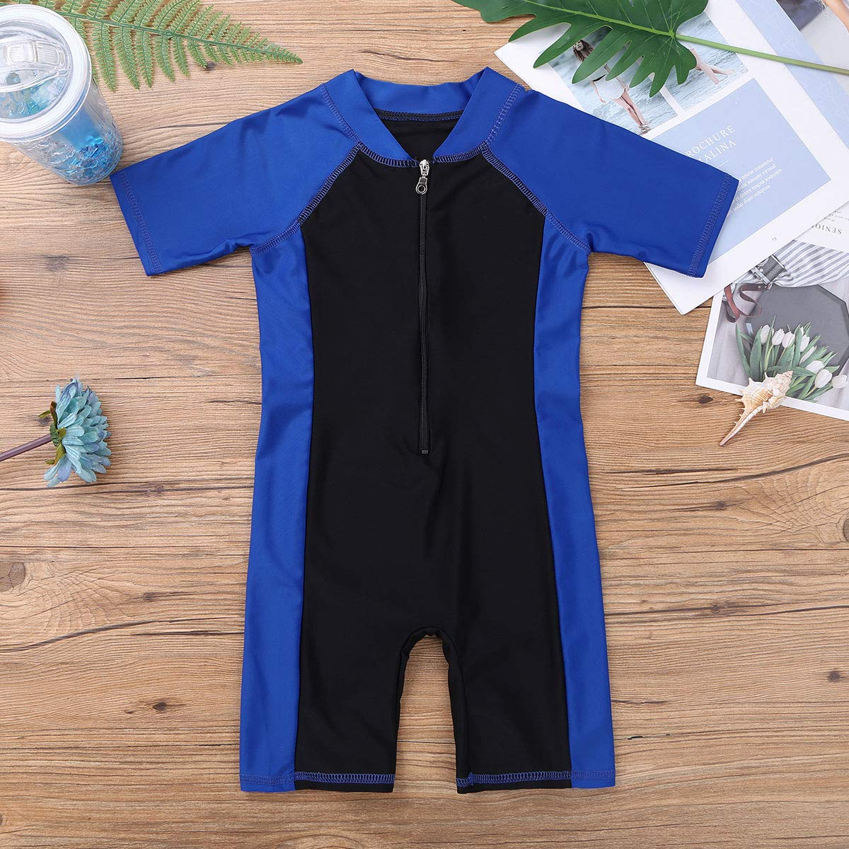 iixpin Kids Boys One-Piece Shorty Wetsuit Short Sleeves Zippered Swimsuit Bathing Suit Surfing Snorkeling Diving Suit Swimming Costume