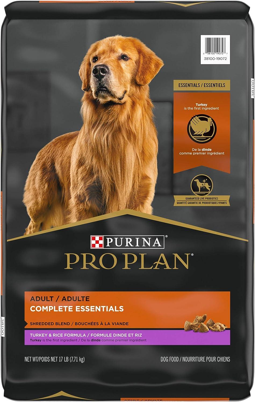 Purina Pro Plan High Protein Dog Food with Probiotics for Dogs, Shredded Blend Turkey & Rice Formula - 17 lb. Bag