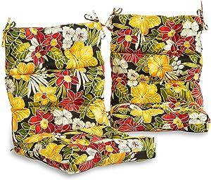 South Pine Porch AM6809S2-ALOHA-BLACK Aloha Black Floral Outdoor High Back Chair Cushion, Set of 2