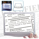MagniPros 3X Large Ultra Bright LED Page Magnifier with 12 Anti-Glare Dimmable LEDs (Provide More Evenly Lit Viewing Area & Relieve Eye Strain)-Ideal for Reading Small Prints & Low Vision