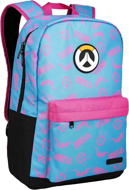 "JINX Overwatch D.Va Splash Adult Backpack, Blue/Pink, 18"""