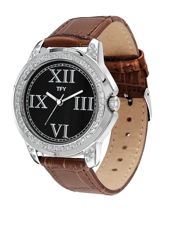 TFY Design Genuine Leather Japan Quartz Movement Trendy Look Diamond Case Fashion Women s Watch TFY1102BR