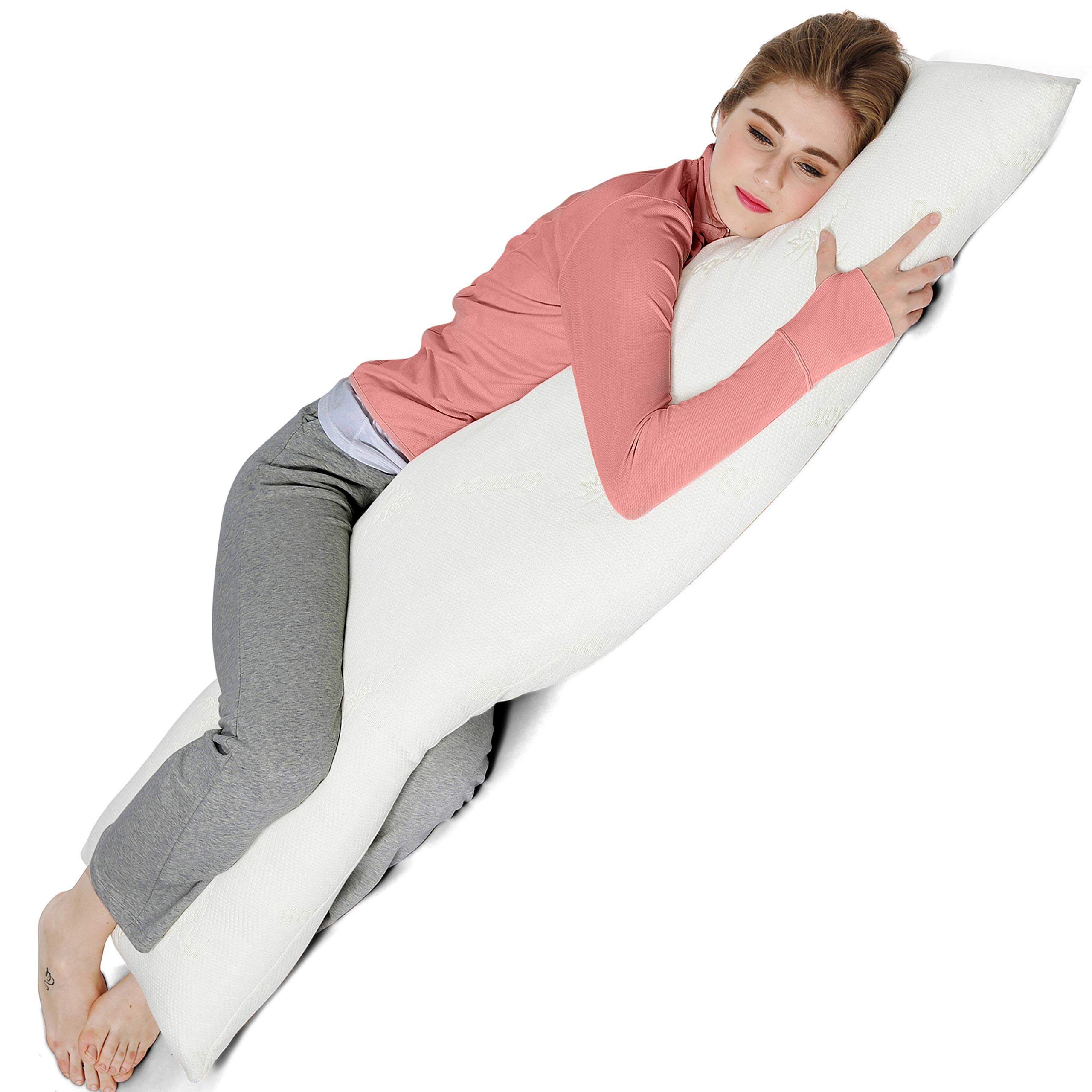AmazingDreams Full Body Pillow - Side Sleeper Pillow and Pregnancy Pillow with Washable Bamboo Cover by Amazing Dreams (Image #3)