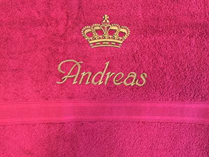 Toalla para invitados con nombres + corona bordado, 30 x 50 cm, varios colores