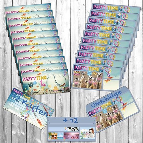 12er Set PARTY-HUND Einladungskarten lustige Premium Einladung zum Kinder-Geburtstag oder Party f/ür Jungen M/ädchen /& Erwachsene von BREITENWERK