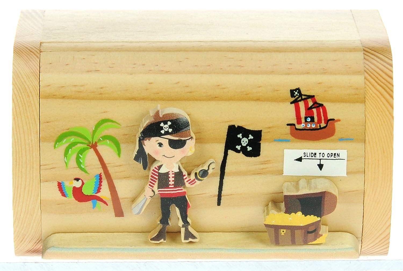 Pirate money box for kids novelty wooden piggy bank with for Secret piggy bank