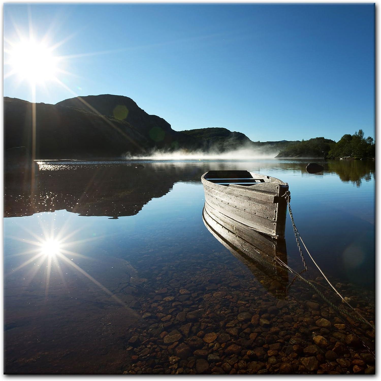 Bilderdepot24 Cuadros en Lienzo Barco en el Lago 80 x 80 cm - Listo tensa, Directamente Desde el Fabricante: Amazon.es: Hogar