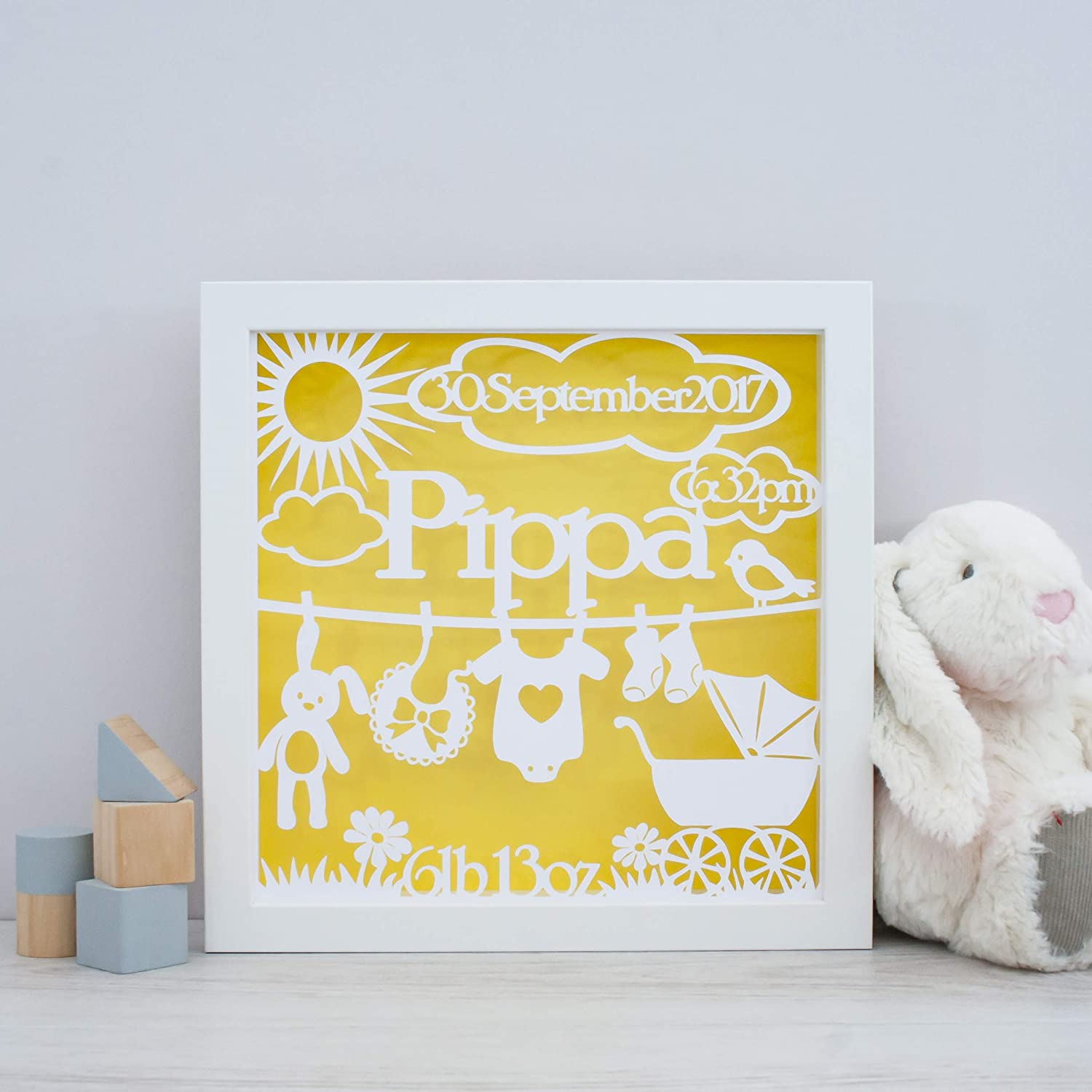 Framed Baby Name Papercut - Personalised Nursery Wall Art ...