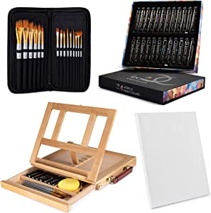 Painting Kit 24 Acrylic Paint (12 ml/0.41 oz.) with 15 Paint Brushes with Tabletop Easel Tabletop Easel (13.38 x 10.25 x 2) Streched Canvas 11x14 Painting Supplies