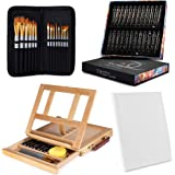 Painting Kit 24 Acrylic Paint (12 ml/0.41 oz.) with 15 Paint Brushes with Tabletop Easel Tabletop Easel (13.38 x 10.25 x…