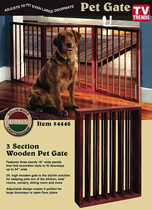 Folding Wood Pet Gate  3 Sections