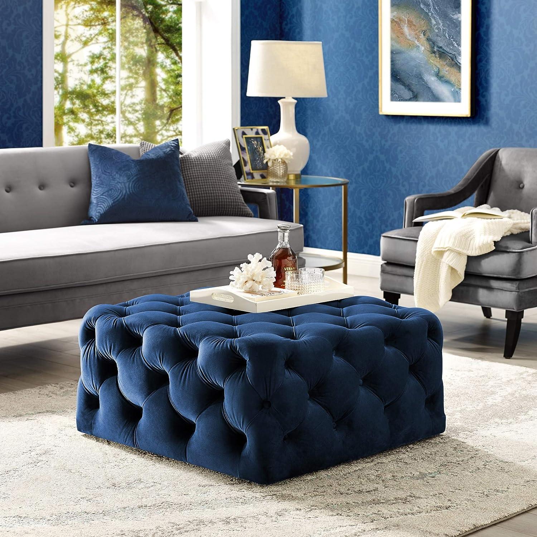 Amazon Com Inspired Home Madeline Navy Velvet Cocktail Ottoman Furniture Decor