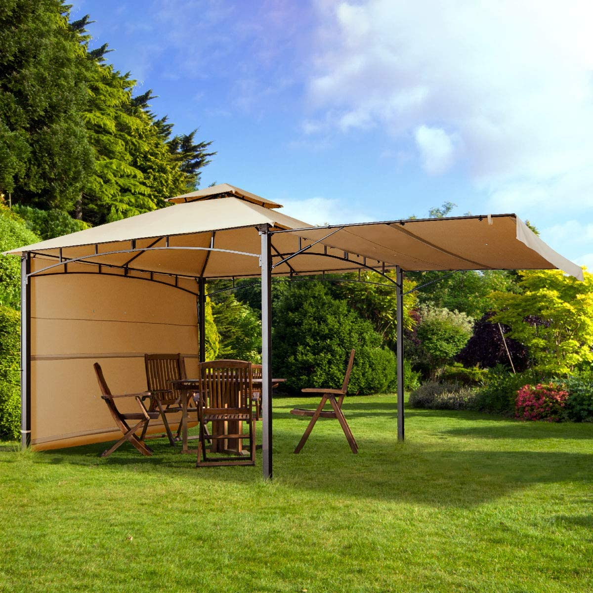 KITADIN 11 x11 Gazebo Tent Outdoor Canopy Shelter with Iron Frame, Removable Side Curtains and Vented Top Canopy for Garden Patio Beige